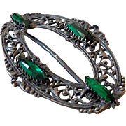 Gorgeous Victorian Silver Scarf Slide Large Green Stones