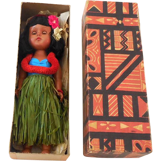 1940s-50s Hawaiian Hula Girl Walker Doll Mint in Original Box