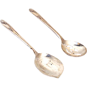 "(2) Vintage Silver Plated Serving Spoons ""Wm Rogers.... IS"""