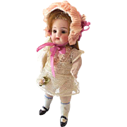Beautiful Antique 5 Inch German Bisque Doll With Human Hair