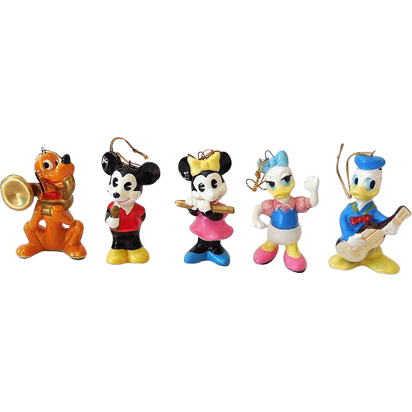 (5) Disney Character Ceramic Ornaments/Figurines Japan