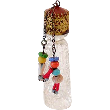 Vintage Czech Irice Mini Perfume Bottle with Figural People Dangles