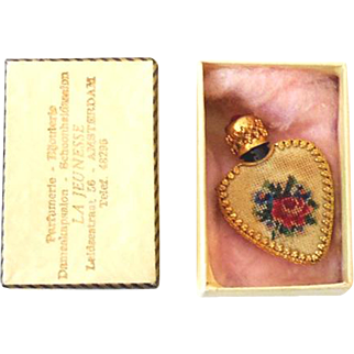 Miniature Heart Shaped Perfume Bottle in Original Box From Amsterdam