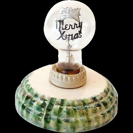 Vintage Aerolux Artful Figural Light Bulb Merry Christmas