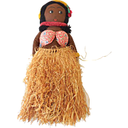 1940s Hand Made Hawaiian Hula Girl Doll Original Tag Near Mint Condition