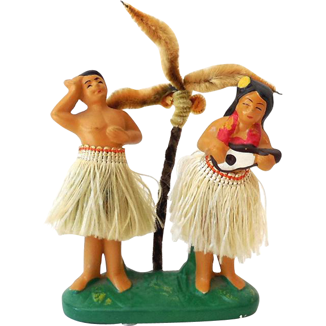 RAREST Vintage Hawaiian Hula Girl & Boy Double Nodder With Palm Tree