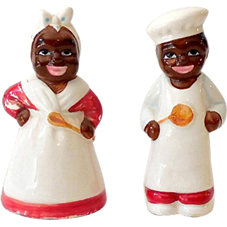 Vintage Black Americana Salt & Pepper Shakers Chef and Mammy