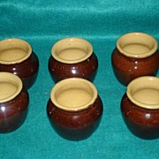 6 Hard To Find Heinz 57 Glazed Pottery Bean Cups 1950's