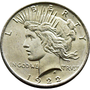 1922 P Uncirculated Peace Dollar (90% Silver)