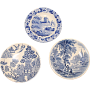 3 Blue & White Butter Pats: Blue Willow, Kenilworth, and Hackwood