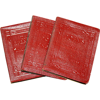 3 Leather Bound Miniature Books of Poetry