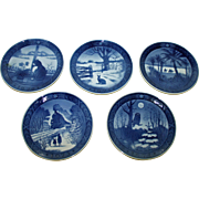 5 Royal Copenhagen Vintage Christmas Plates