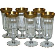 Set of 6 Vintage Parfait Glass with Wide Gold Bands