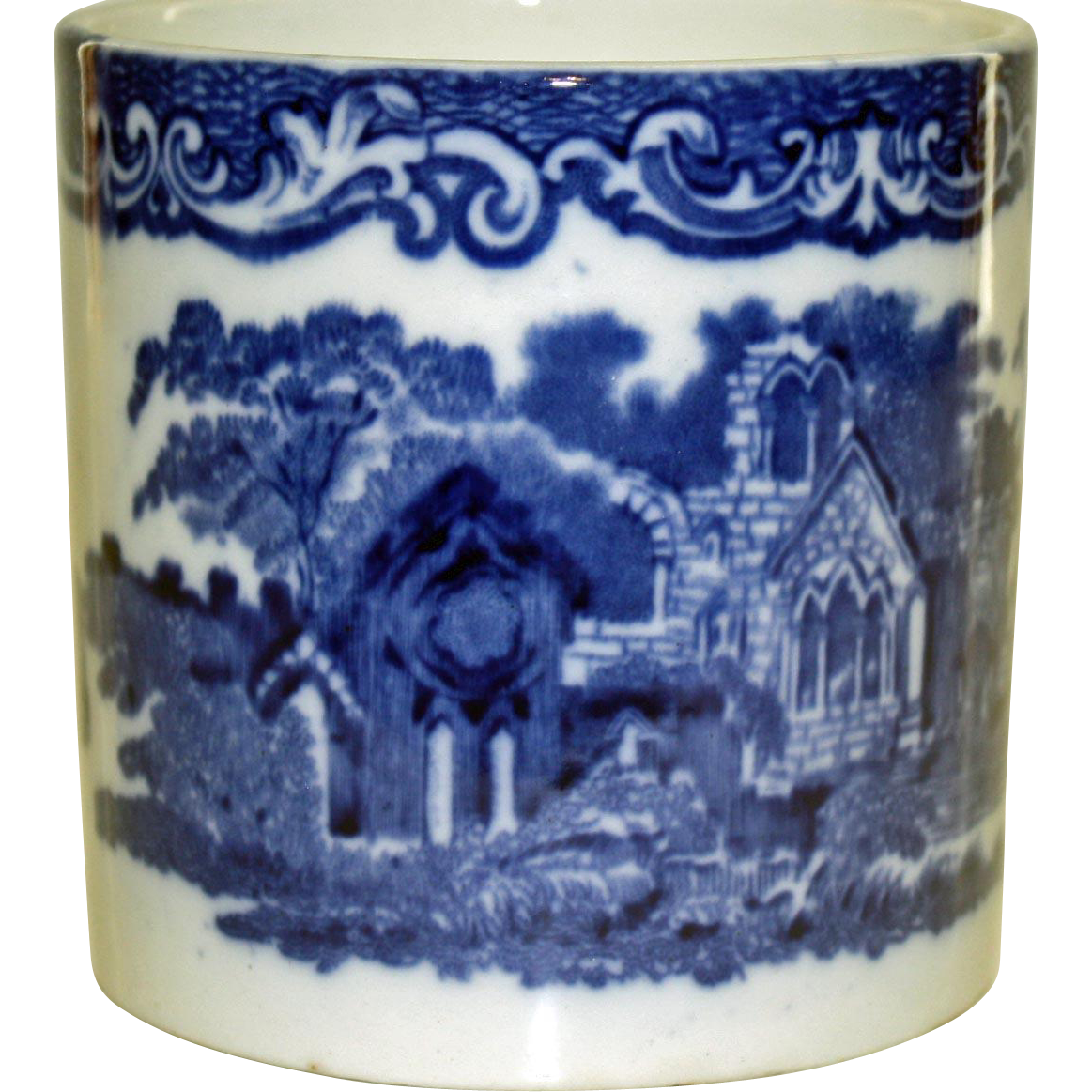 """19th Century Blue and White Beaker """"Abbey"""" Pattern by G. Jones and Sons"""