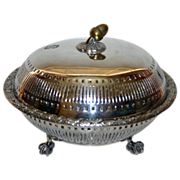 1889 Antique Covered Silver Plate Bowl, Acorn Finial, English, by Elkington