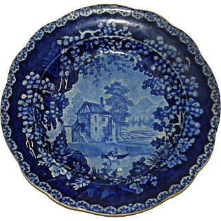 Historical Blue Adams Staffordshire Transferware Plate c. 1820