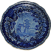 Historical Blue Adams English Staffordshire Transferware Plate c. 1820
