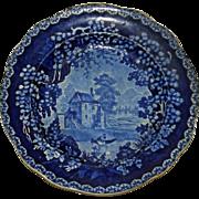 Historical Blue Adams English Staffordshire Transferware Plate c. 1820