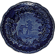Adams c. 1830 Historical Blue River Scene Transferware Plate