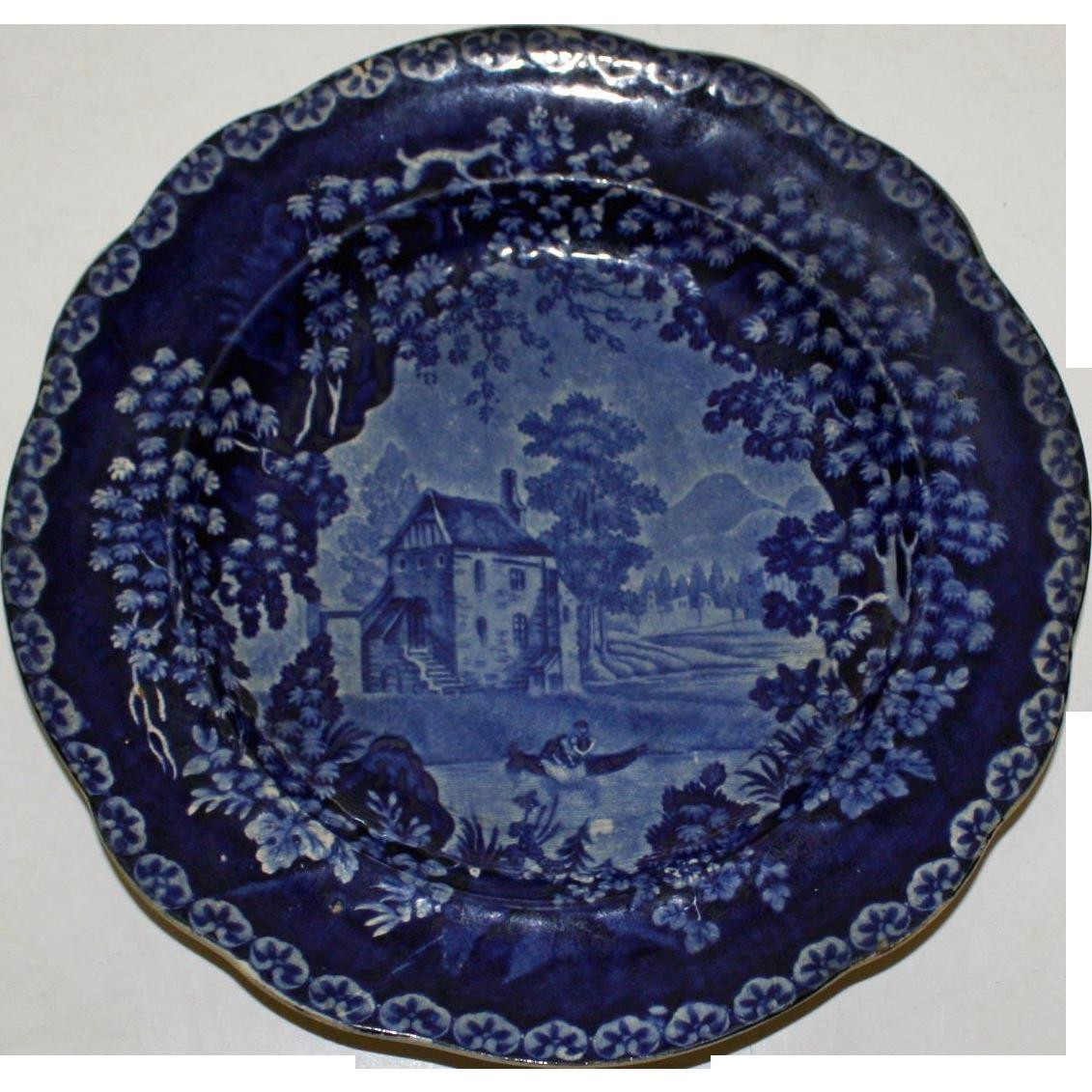 Adams c. 1830 Historical Blue River Scene Transferware Plate