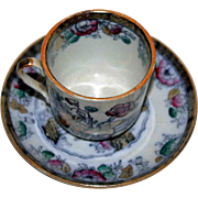Ashworth Demitasse Cup and Saucer, Antique English, 1870-1880