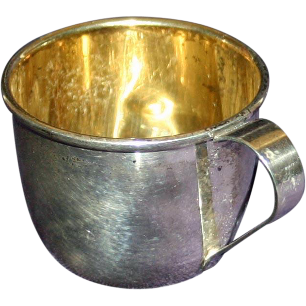 Vintage American Sterling Baby Cup with Gold Wash by Web Silver Company