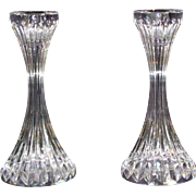 Pair Baccarat Crystal Massena Signed Candlesticks