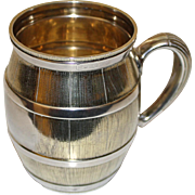 Antique Tiffany Sterling Silver Mug (Cup), Barrel Shaped, c. 1875, Gilt Interior