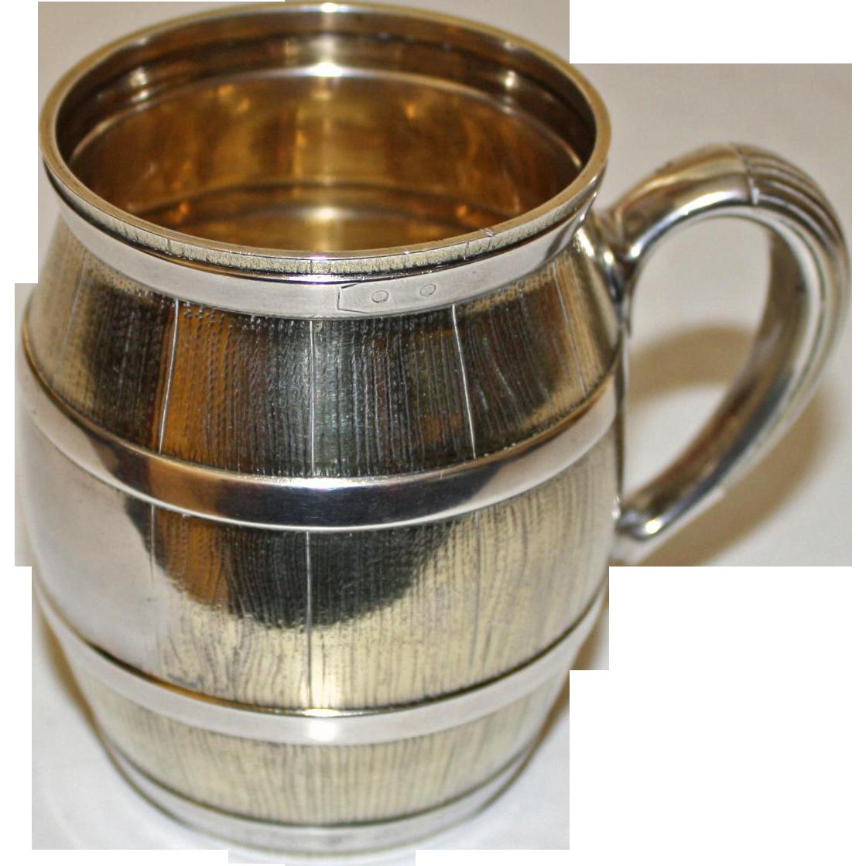 Antique Tiffany Sterling Silver Mug (Cup), Barrel Shaped, c. 1875, Gilt Interior