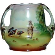 Royal Bayreuth Scenic 2 Handled Vase with Wild Turkeys - Rare