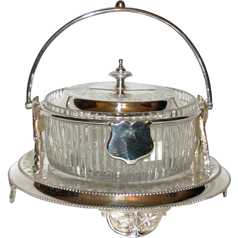 Antique Covered Cut Glass & Silver Candy Dish or Biscuit