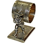 800 Silver Figural Napkin Ring-Boy Carrying Load