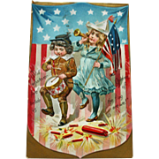 Antique Tuck Fourth of July 1908 Postcard with Young Boy and Girl, Patriotic Trappings
