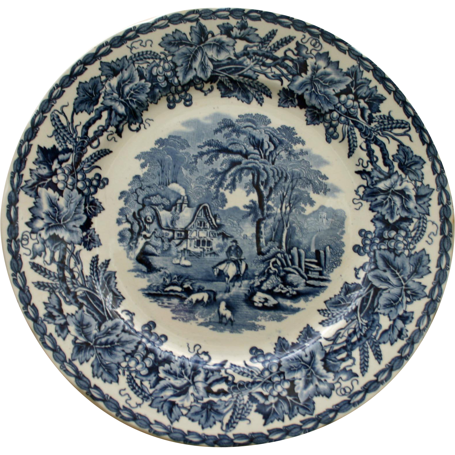 Vintage Blue and White Transferware Plate - British Scenery by Booth