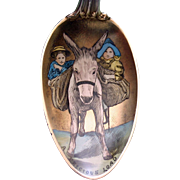 Sterling Silver Colorado Spoon, Wonderful Enamel in Bowl of Burro and Children, Very Rare