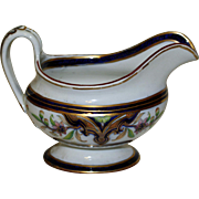 "Antique English Creamer, Cobalt and Gilt, ""Canton"" Pattern, Red Cross Symbol"