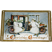 Antique Post Card with Antique Car & Two Ladies Bundled in Furs