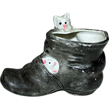Miniature Shoe with Humorous Cats