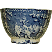 Early 19th Century Blue and While Cup with Winged Cherubs Riding Animals