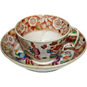 Antique English Chinoiserie Staffordshire Cup and Saucer