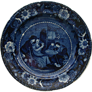 "Historical Blue Clews ""Christmas Eve"" Staffordshire Plate c. 1825"