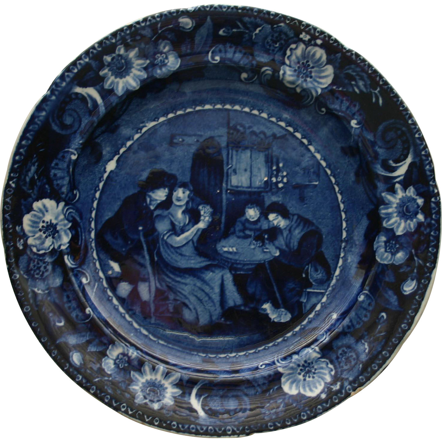 """Historical Blue Clews """"Christmas Eve"""" Staffordshire Plate c. 1825"""