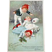 Antique Postcard of Kids Learning to Ice Skate at Christmas