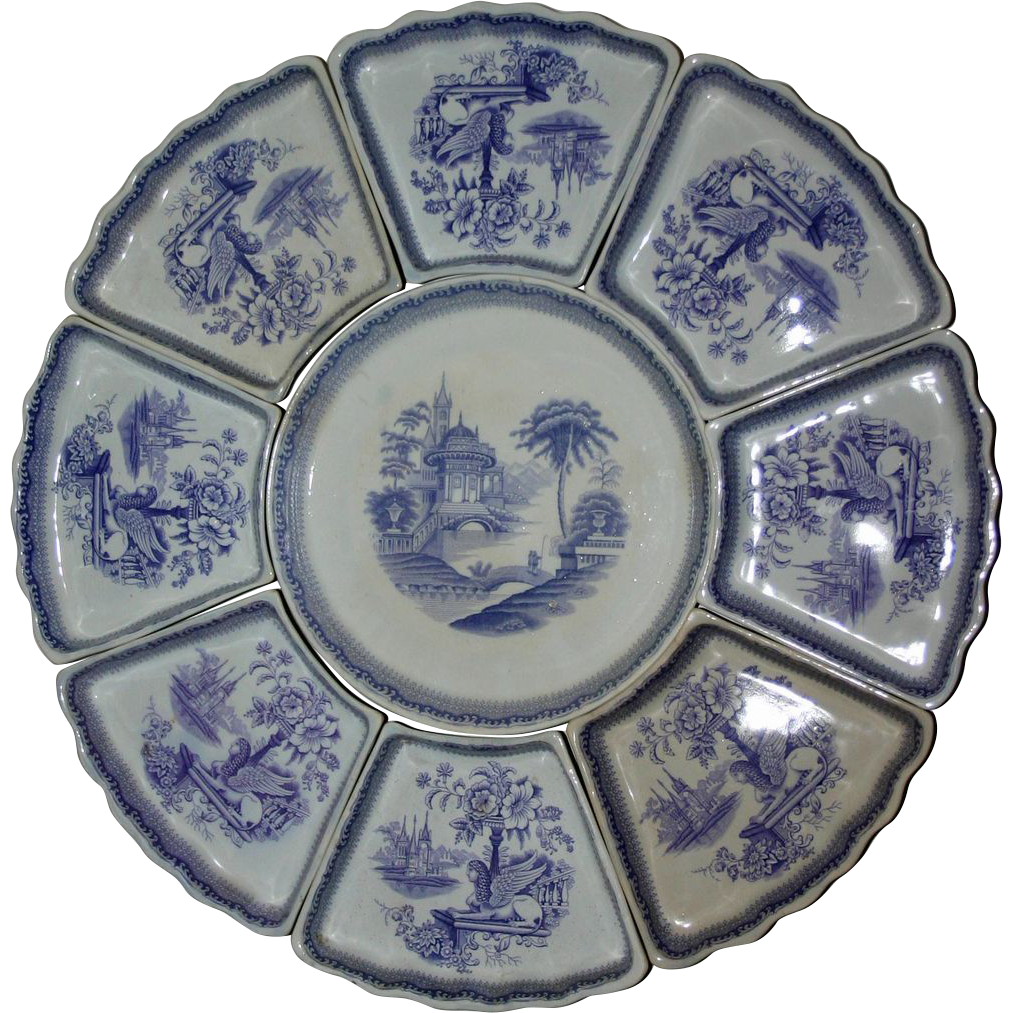 Smorgasbord Swedish Violet 9 Piece Transferware Series of Serving Dishes--18 Inches