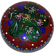 Vintage Cloisonne Round Box with Lid