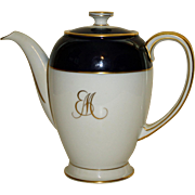 Rosenthal Cobalt, White, and Gilt Continental Coffee Pot