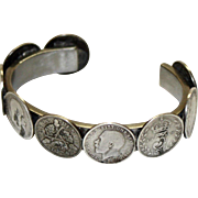 Bracelet Made with Vintage English 3 Pence Silver Coins--1917-1930's