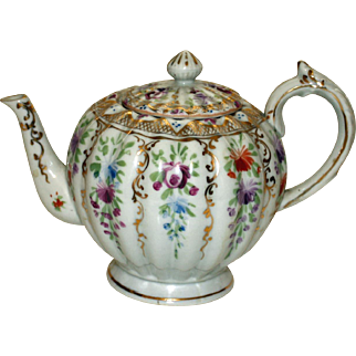 Antique Ribbed Porcelain Teapot Covered with Flower Sprigs