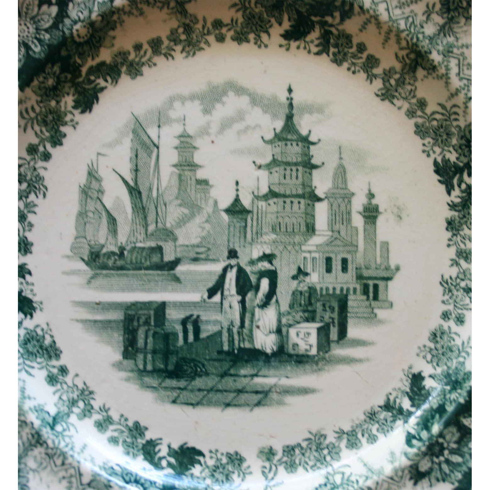 Three Antique Deep Teal Transferware Plates - Commerce by Samuel Alcock 1828-1859