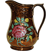 Antique Copper Luster Pitcher, 8 Inches Tall
